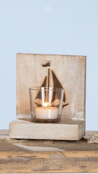 "Holz Teelichthalter Set ""SEA"" mit Segelboot"