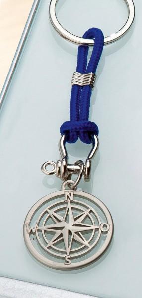 """Schlüsselanhänger """"WINDROSE"""" matt an blauer Kordel"""