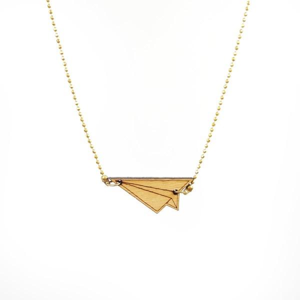 Vergoldete Halskette mit Origami-Holzflieger ❤