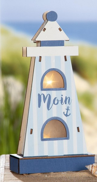 "Strandgut Holz LED Leuchtturm ""Moin"" mit Sterneffekt"
