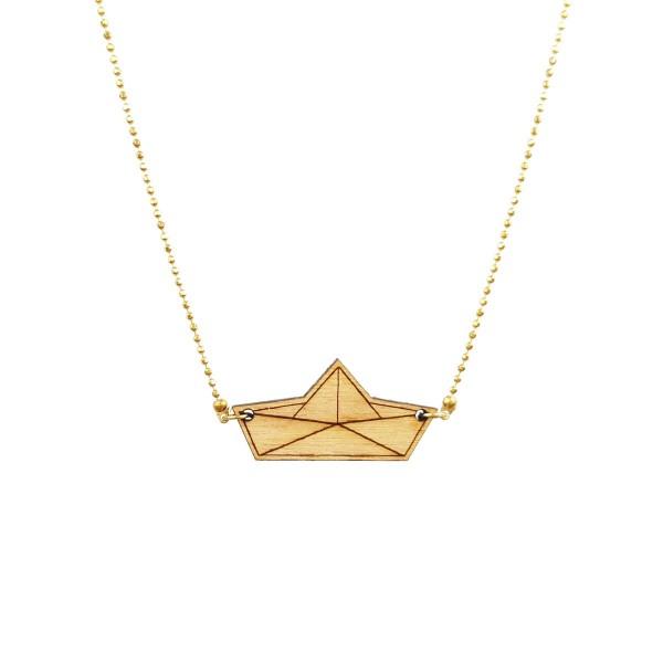 Vergoldete Halskette mit Origami-Holzboot ❤