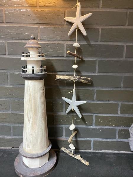 Windspiel Kette mit Seesternen aus echtem Holz handgemacht