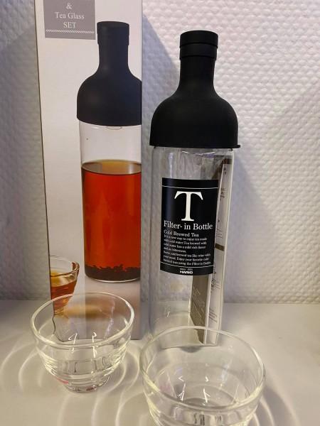 Tee-Set mit integriertem Filter + 2 Teegläser schwarz