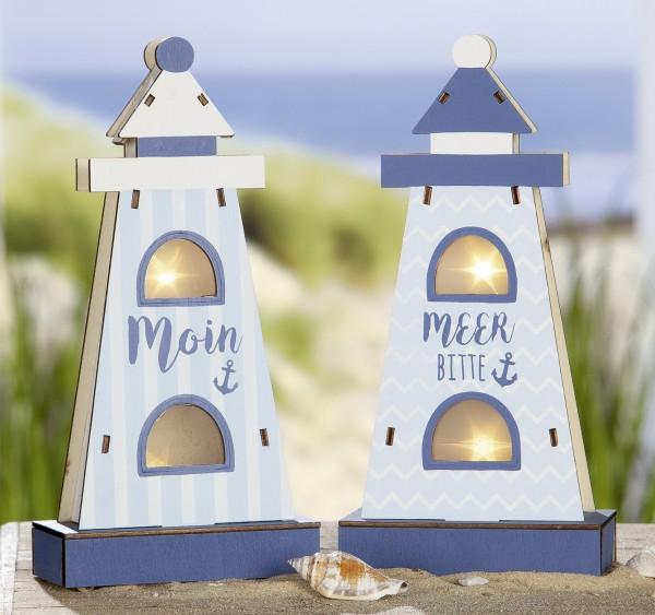 "Strandgut SET Holz LED Leuchtturm ""Moin"" und ""Meer bitte"" mit Sterneffekt"