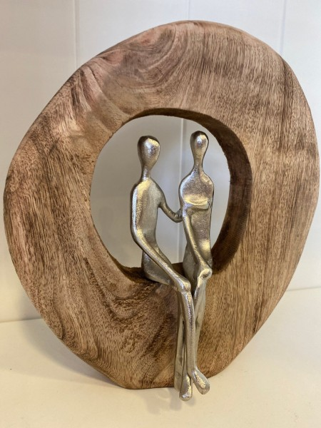 "Statue Holz mit Aluminium ""Paar"""
