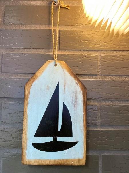 Strandgut Holzbrett, Dekobrett mit Segelboot hangemacht aus echtem Holz