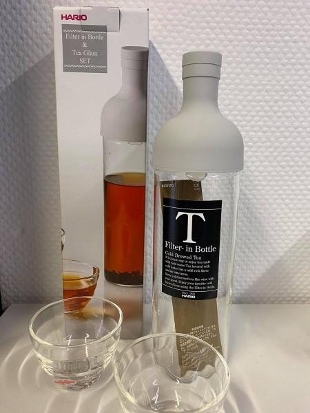 Tee-Set mit integriertem Filter + 2 Teegläser weiß