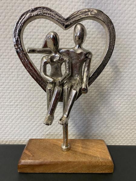 """Statue Holz mit Aluminium """"PAAR im HERZ"""""""