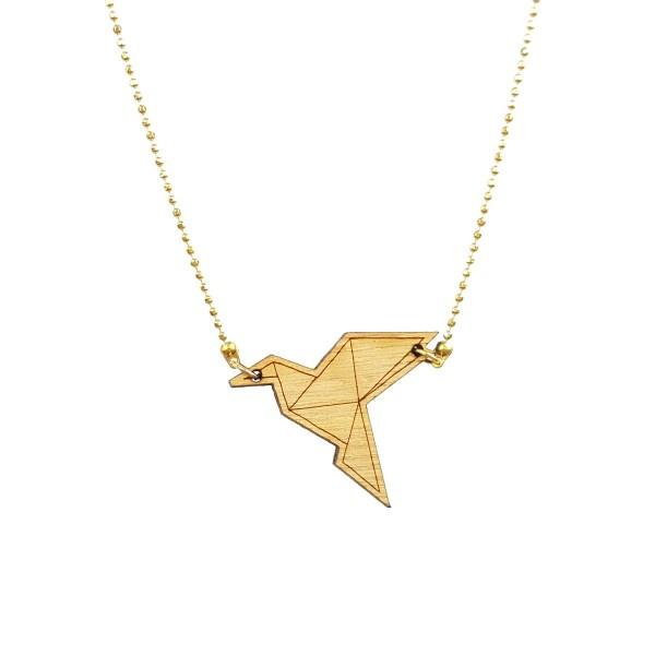Vergoldete Halskette mit Origami-Kranich aus Holz ❤