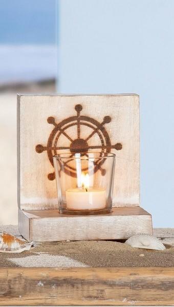 """Holz Teelichthalter Set """"SEA"""" mit Steuerrad"""