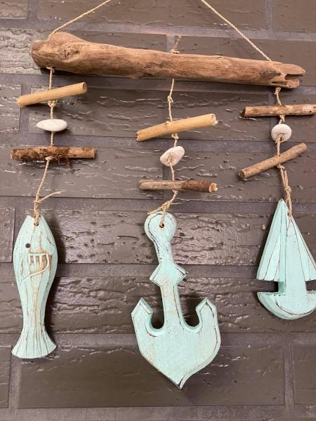 Windspiel Girlande Kette mint mit Anker, Segelboot und Fisch aus echtem Holz handgemacht Unikat!