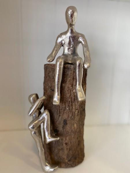 """Statue Holz mit Aluminium """"Kletter-Maxe"""""""
