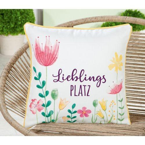 """Stoff Kissen """"Lieblingsplatz"""" mit farbigen Blumendruck und umlaufendem Keder"""