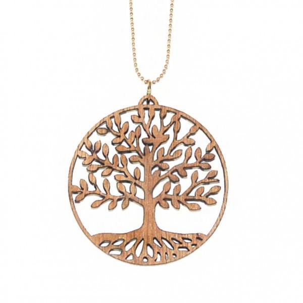 Vergoldete Halskette mit Holzanhänger Baum des Lebens ❤