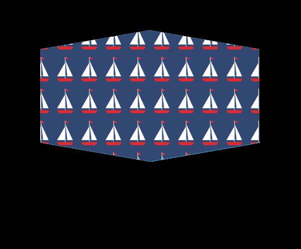 GESICHTSMASKE SAILOR blau mit weißen Segelbooten