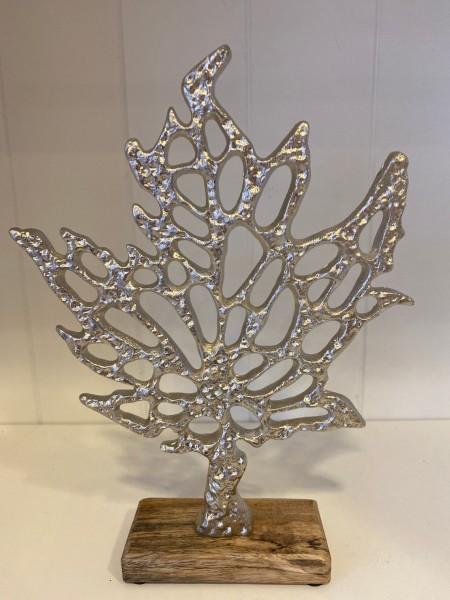 """Statue Holz mit Aluminium """"Baum"""""""
