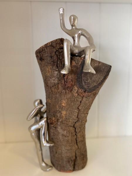 "Statue Holz mit Aluminium ""Gipfelstürmer"""