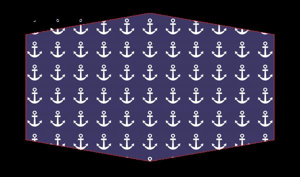 """GESICHTSMASKE """"Marine"""" blau mit weißen Ankern"""