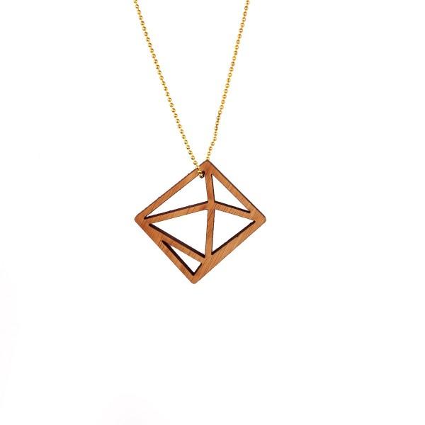 Vergoldete Halskette mit Holzkristall-Quadrat❤