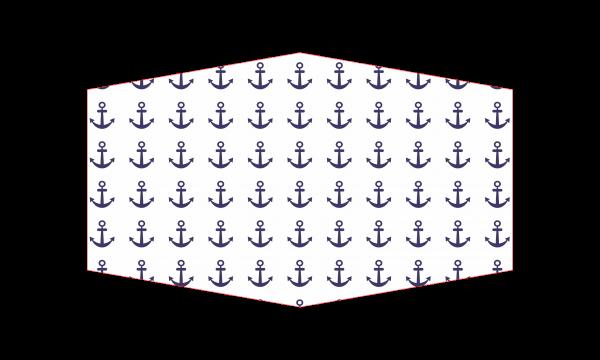 """GESICHTSMASKE """"Marine"""" weiß mit blauen Ankern"""