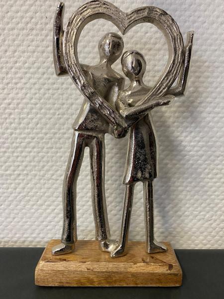 """Statue Holz mit Aluminium """"Liebespaar"""""""