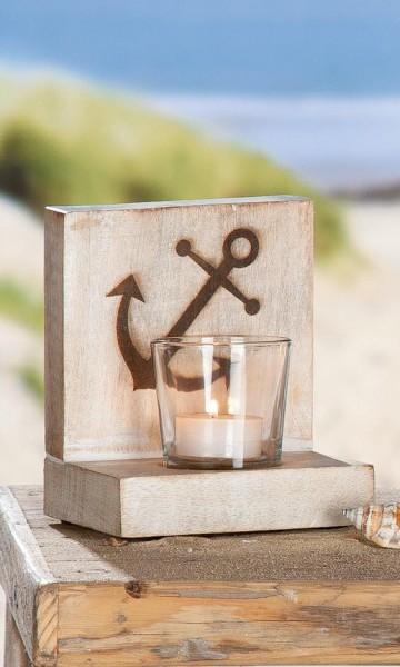 """Holz Teelichthalter Set """"SEA"""" mit Anker"""