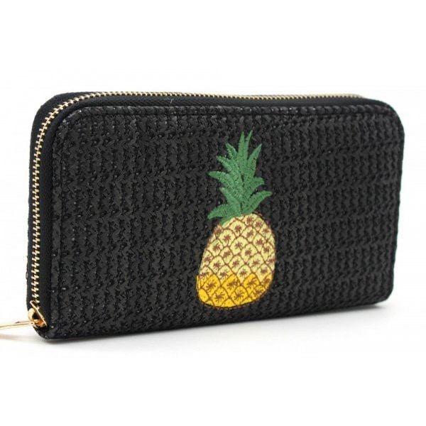 Portemonaie Ananas gewebt schwarz