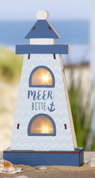 "Strandgut Holz LED Leuchtturm ""Meer bitte"" mit Sterneffekt"