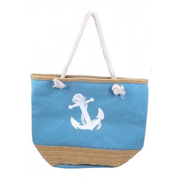 Strandtasche mit Stroh und Anker in blau
